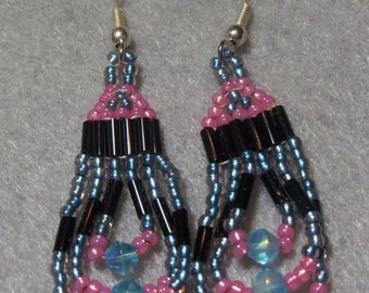 Pretty Pink and Blue beaded eraaings