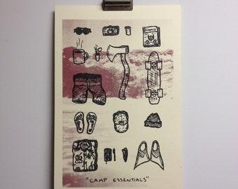 Camping Essentials Variant - Risograph Art Print