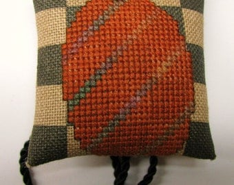 Caramel Checklet Pumpkin Ornament 3 Cross Stitch Needlework Harvest Halloween completed