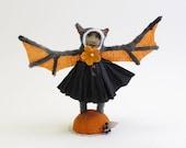 Spun Cotton Vintage Style Black and Orange Halloween Bat Girl Figure