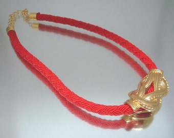 Red Braid Knot Necklace Choker Woven Vintage Jewelry