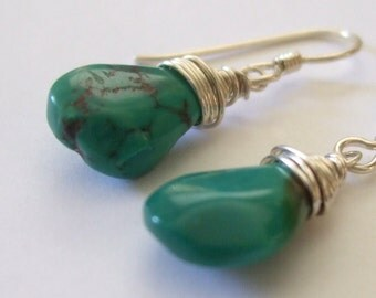Teal Turquoise Dangle Sterling Silver Wire Wrapped Small Blue Green Pear Nugget Earring