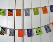 Halloween Fabric Flag garland. Everyday Banner. Photo Prop on jute / twine.