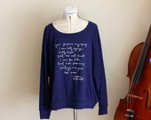 Lightweight Slouchy Sweatshirt- navy blue - size S, M, L - Jane Austen- Persuasion - Captain Wentworth
