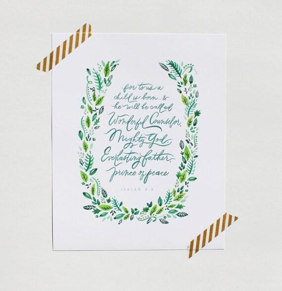 christmas print / 8x10 / isaiah 9:6