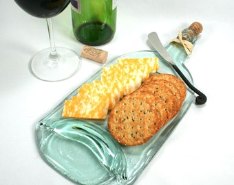 Large Light Blue Green Wine Bottle Flat Serving Tray with Cork and Raffia and  Spreader - Recycled Eco-Friendly