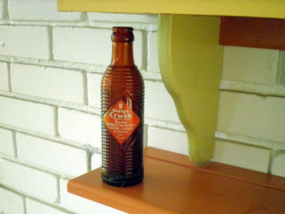 Vintage Orange Crush Brown Ribbed Glass Soda Bottle, Circa 1970s