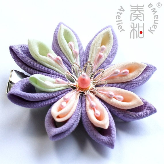 Floating Dream - Double Layered  Large Suiren (Water Lily) Tsumami Kanzashi Clip with Pink Coral Bead