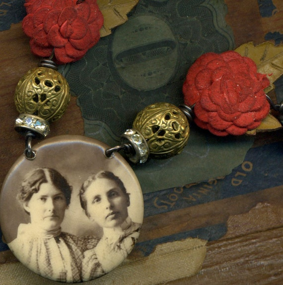 Sisters in Red--- A Vintage Assemblage Necklace Antique Sepia Photo of Sisters Women