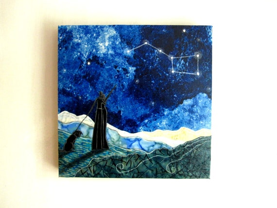The Big Dipper, constellation night sky stargazing, black lab, Original Fabric on Wood art block