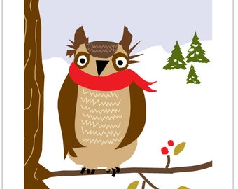 Greeting Cards Funny owl on tree branch with red scarf