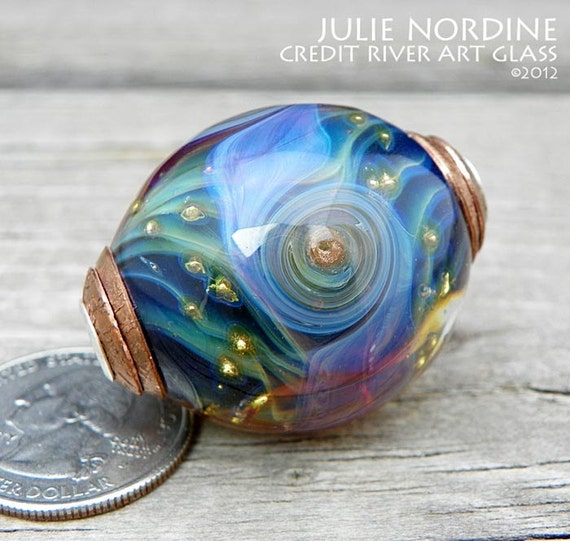 Julie Nordine . Large Hole European Style Handmade Art Glass Bead 17 . Sterling Lined . Copper . Lampwork . FREE SHIPPING . SRA
