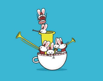 Teacup Bunny Band Greeting Card Blue Version