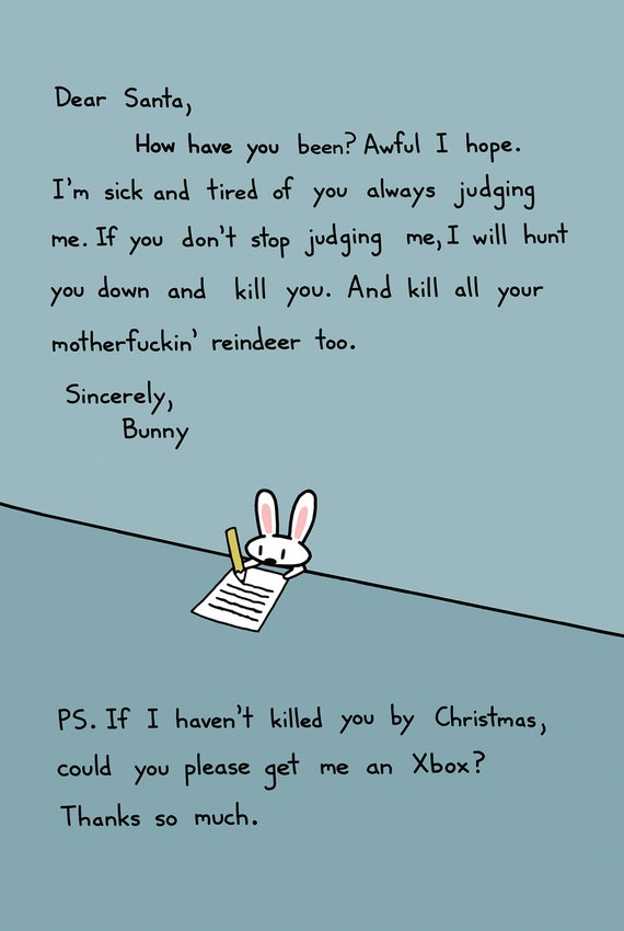 Bunny's Letter To Santa Holiday Card