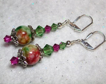 Candy Jade Earrings with Swarovski Crystals Silver Leverback Hooks Wire Wrapped Gemstone Dangle Earrings Green and Pink Gifts under 5