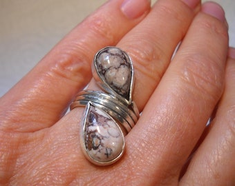 Jasper Teardrop Sterling Silver Ring
