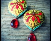 Exotique Crimson Recycled Tin Earrings