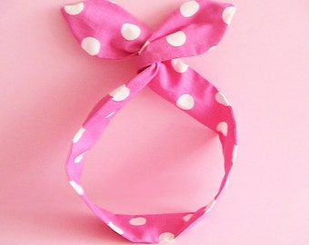 Dolly Bow Headwrap-White Polka Dots on Pink
