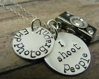 photographer necklace-camera necklace-personalized necklace- hand stamped necklace