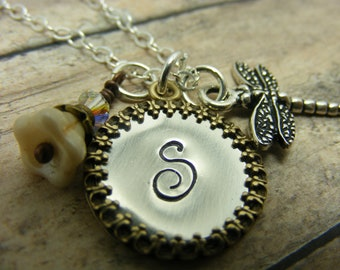 Hand stamped-personalized-necklace-mommy-initial-cross-dragonfly-heart-necklace