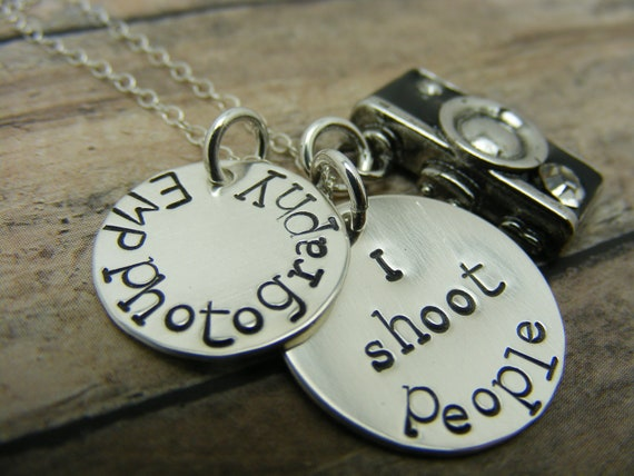 Camera charm handstamped sterling silver discs I shoot people necklace