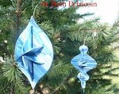 Dimensional Ornament Set, Christmas Tree, Teardrop shape, Ogee, polymer clay, shades of blue