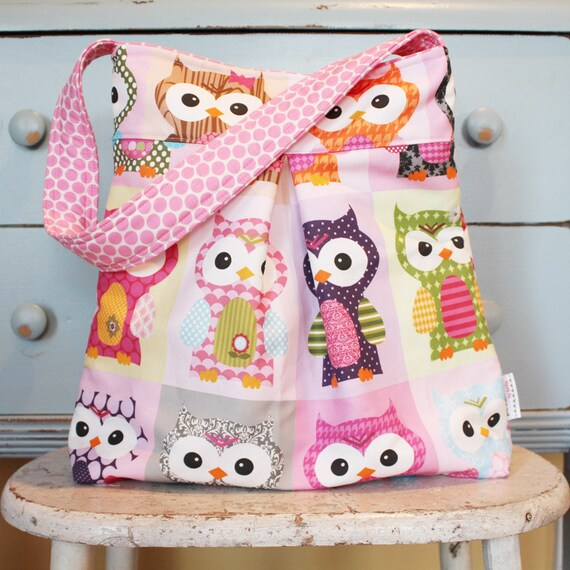 Large OWL Diaper Bag by PETUNIAS - hobo bag purse market tote laptop carry all gym sack gift baby shower nappy everyday ready to ship teal