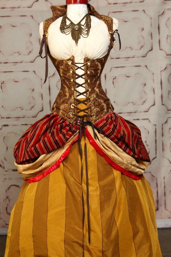 Gold and Brown Stripe Full Length Skirt
