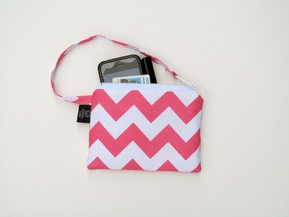 New Pink Chevron Wristlets  Ready to ship cell phone, iphone, camera gadget bag