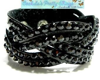 """PU Leather Bead Bracelet rhinestones black adjustable 6.75"""" to 7.5"""""""