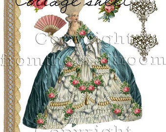 French inspired digital collage sheet Instant download