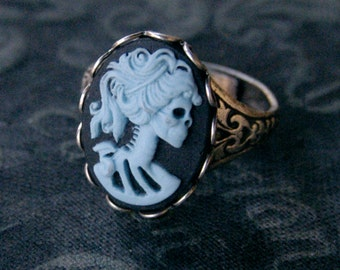 Skeleton Lady Cameo Ring- Blue and Silver