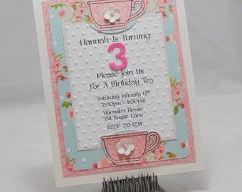 Handmade Tea Party Invitations Set of 10
