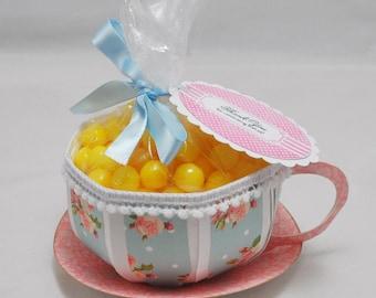 Teacup Favor - Shabby Chic- Blue Floral
