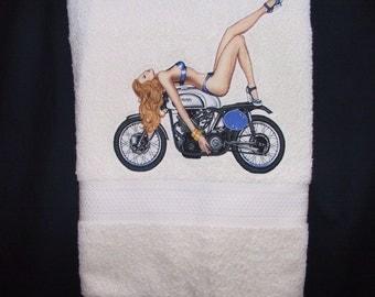 PinUp Girl Bath Towel: Motorcycle Retro Vintage Pinup Handmade Home Decor