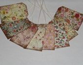 8 Primitive Antique Vintage Style Floral Scrapbooking Embellishments Hang Tags Gift Tags Vendor Price Tags