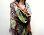 Felt Wool Shawl-Scarf rust green earthtone sheer cashmere-soft nuno merino silk fiber art