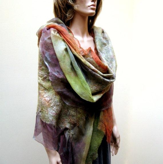 Felt Wool Shawl-Scarf rust green earthtone sheer cashmere-soft nuno merino silk fiber art