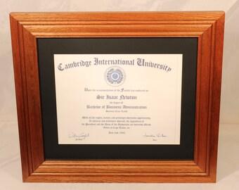 Diploma Frame, 8 1/2 x 11 Diplomas, Mahogany Frames, Office Decor