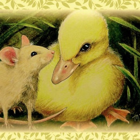 Spring, Mouse and Duckling Greeting Cards, Art by Melody Lea Lamb, Set of Four