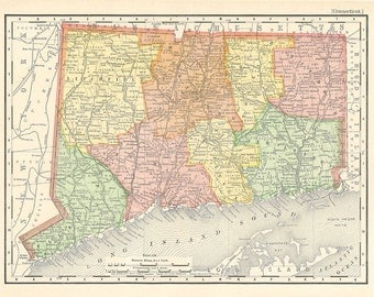 map of Connecticut from 1904, a printable digital download collage sheet,  no. 969
