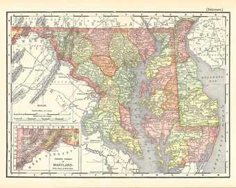 map of Maryland and Delaware, a printable digital map no. 970
