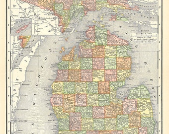 old map of Michigan from 1904, a vintage printable digital image, no. 268.