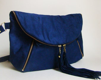 SALE Cobalt Blue Suede XL Fold Over Day Traveler/ Overnight/ Weekend bag, ready to ship