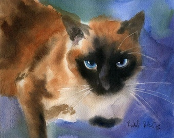Applehead Cat Art PRINT of a Watercolor Painting Pet Portrait 4 Christmas Gift
