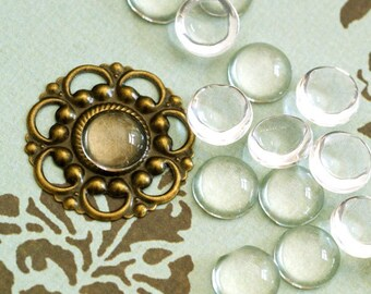 20pcs 10mm Glass Transparent Clear Round Cabochon Cameo Cover Cabs GGLA-G002