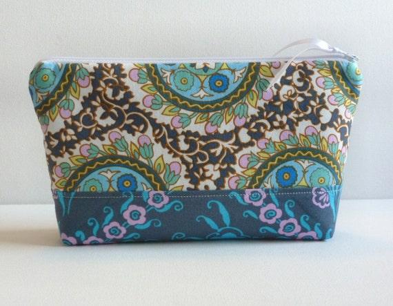Makeup Bag Cosmetic Case Zipper Pouch Angelica in Zinc Amy Butler