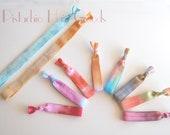 Dye Hard Hippie Collection Set of 8 satin elastic hair ties and 2 satin elastic headbands tie dye