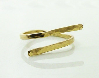 Gold Stacking Ring Stackable Ring - Christian Jewelry - Hand Forged Hammered Gold - PIERCED Collection