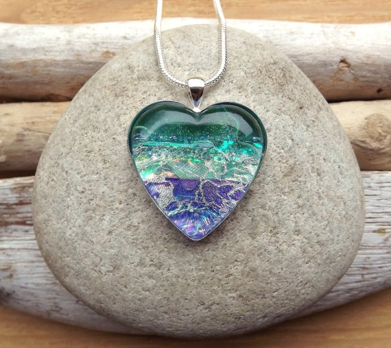 Large Heart Shaped Textile and Glass Pendant